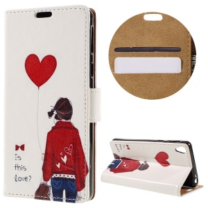 Wallet Stand Leather Cover for Sony Xperia E5 - Girl Holding Balloon