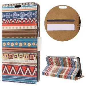 Magnetic Stand Leather Cover for Sony Xperia E5 - Tribal Geometric Figure