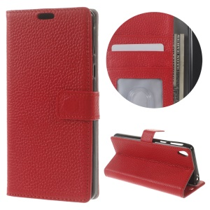Lychee Skin Genuine Leather Card Holder Case for Sony Xperia E5 - Red