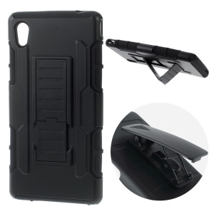 For Sony Xperia M4 Aqua / Dual Belt Clip Kickstand PC Silicone Phone Case - Black