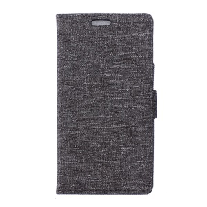 Linen Texture Leather Wallet Stand Case for Sony Xperia X - Grey