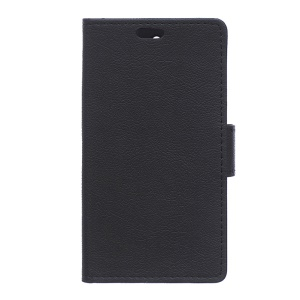 Litchi Grain Leather Wallet Case for Sony Xperia X with Stand - Black