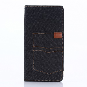 Jeans Cloth Card Holder Leather Case Cover for Sony Xperia XA - Black Blue