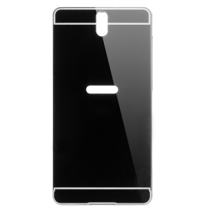 Metal Frame + Mirror-like PC Back Plate Case for Sony Xperia C5 Ultra/Ultra Dual E5553 E5563 - Black