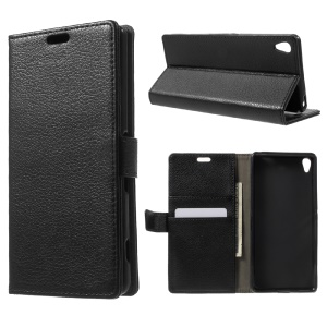 Litchi Skin Leather Wallet Stand Case for Sony Xperia XA / XA Dual - Black