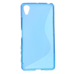 S Shape TPU Cover Shell for Sony Xperia X Performance - Blue