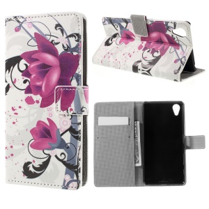 Kapok Flowers Leather Stand Card Slot Case for Sony Xperia X Performance