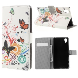 Butterflies and Circles Leather Wallet Case for Sony Xperia X Performance