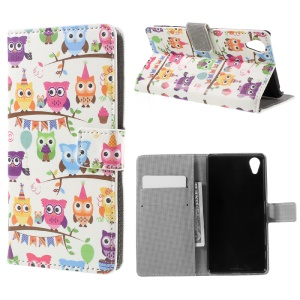 Multiple Little Owls Wallet Leather Flip Case for Sony Xperia X Performance