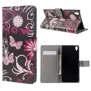 Leather Wallet Case Flip Cover for Sony Xperia XA / XA Dual - Floral Butterfly