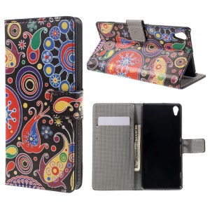 Leather Wallet Flip Case Cover for Sony Xperia XA / XA Dual - Paisley Pattern