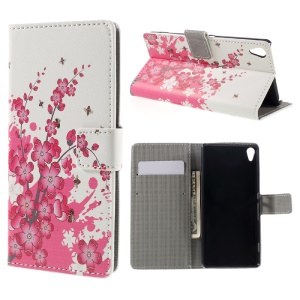 Leather Cover with Card Slots for Sony Xperia XA / XA Dual - Plum Blossom