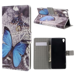 Leather Case with Wallet Slots for Sony Xperia XA / XA Dual - Blue Butterfly
