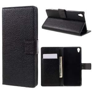 Litchi Grain Wallet Leather Stand Cover para Sony Xperia XA / XA Dual - negro