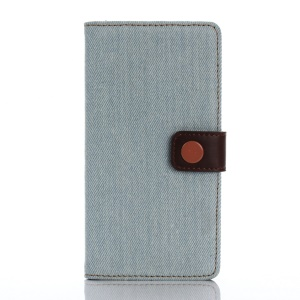 Jeans Cloth Wallet Leather Stand Case for Sony Xperia X - Baby Blue