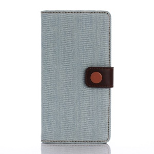 Jeans Cloth Leather Wallet Stand Case for Sony Xperia X Performance - Baby Blue