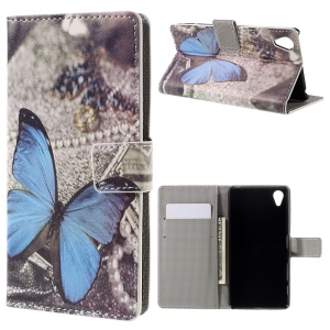 Faux Leather Flip Case with Stand for Sony Xperia X - Blue Butterfly
