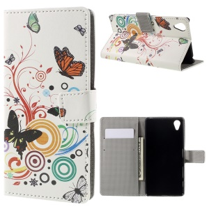PU Leather Card Holder Shell Case for Sony Xperia X - Butterflies and Circles