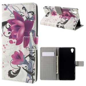Wallet Stand Leather Case Protector for Sony Xperia X - Purple Flower