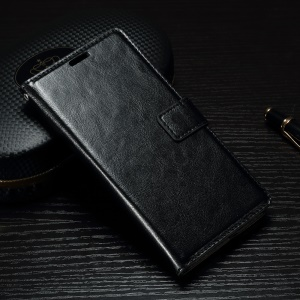 Crazy Horse Leather Wallet Stand Case para Sony Xperia X - negro