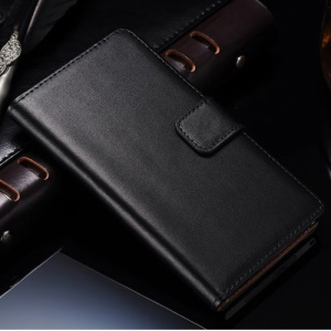 Split Leather Wallet Stand Case for Sony Xperia Z1 Honami C6903 C6902 L39h - Black