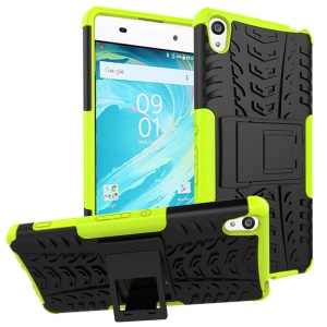 Two Pieces Anti-slip PC + TPU Hybrid Cover Case with Kickstand for Sony Xperia XA / XA Dual - Green