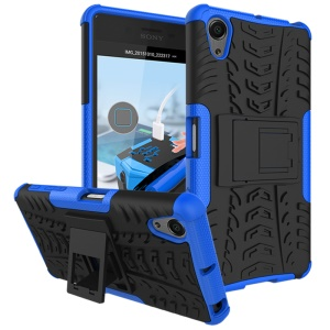 Two Pieces Anti-slip PC + TPU Combo Case with Kickstand for Sony Xperia X Performance - Blue