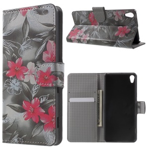 Illustration Wallet Leather Stand Shell for Sony Xperia XA/XA Dual - Fresh Flowers