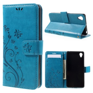 Butterfly Leather Card Holder Case for Sony Xperia X - Blue
