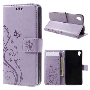 Butterfly Leather Wallet Case Shell for Sony Xperia X - Purple