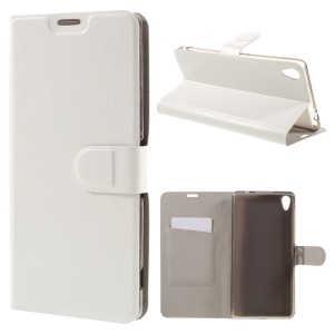 Crazy Horse Leather Cover Card Holder for Sony Xperia XA Ultra - White