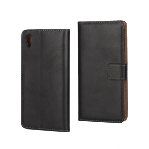 Genuine Split Leather Wallet Case for Sony Xperia XA / XA Dual - Black