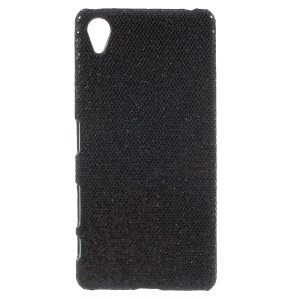 Black Sequins Leather Coated Hard Back Cover for Sony Xperia X