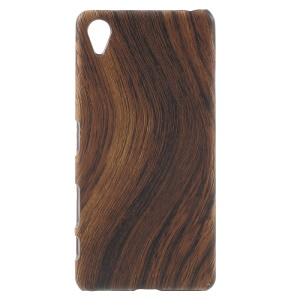 Wood Grain Leather Coated Hard Back Cover for Sony Xperia X