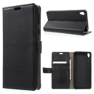 Litchi Texture Leather Wallet Stand Case for Sony Xperia E5 - Black