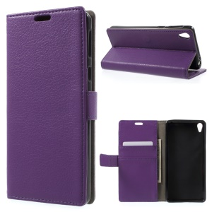 Litchi Texture PU Leather Phone Shell pour Sony Xperia E5 - Violet