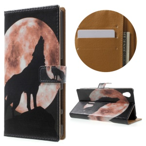 Wallet Leather Stand Case for Sony Xperia X Performance - Fierce Wolf
