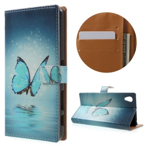 Magnetic Leather Stand Cover for Sony Xperia X Performance - Blue Butterfly