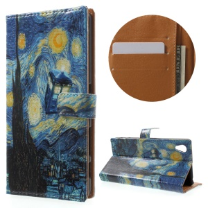 Leather Stand Case with Card Slots for Sony Xperia X Performance - Starry Sky