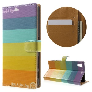 Leather Stand Cover with Card Slots for Sony Xperia X Performance - Colorized Stripes