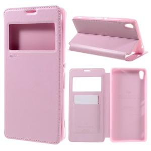 ROAR KOREA Noble Leather View Cover Flip Case for Sony Xperia XA Ultra - Pink