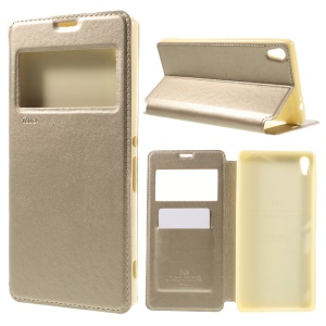 ROAR KOREA for Sony Xperia XA Ultra Noble Leather View Case Stand Cover - Gold