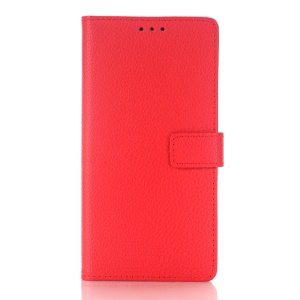 Lychee Skin Leather Wallet Case Cover for Sony Xperia X - Red