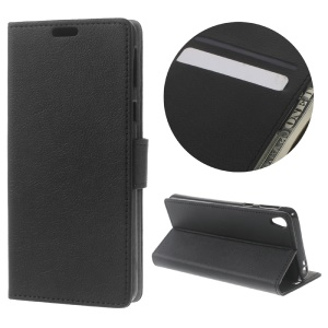 Litchi Grain Wallet Leather Stand Case for Sony Xperia E5 - Black