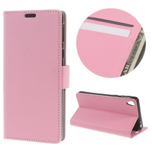 Litchi Grain Wallet Leather Protective Case for Sony Xperia E5 - Pink