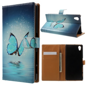 Pattern Printing Wallet Leather Shell for Sony Xperia X - Blue Butterfly