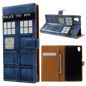 Pattern Printing Stand Flip Leather Case for Sony Xperia X -  Police Public Call Box