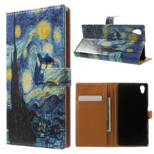 Pattern Printing Protective Leather Case with Stand for Sony Xperia X - Starry Sky