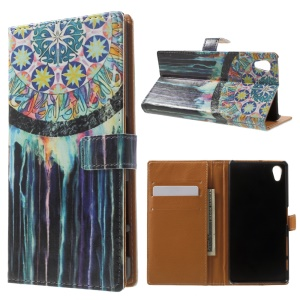Pattern Printing Wallet Leather Phone Cover for Sony Xperia X - Colorful Dream Catcher