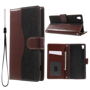 Jeans Cloth Skin Leather Wallet Flip Cover for Sony Xperia XA/Dual - Black